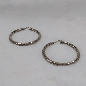 Sterling Silver 925 Diamond Cut Hoop Earrings